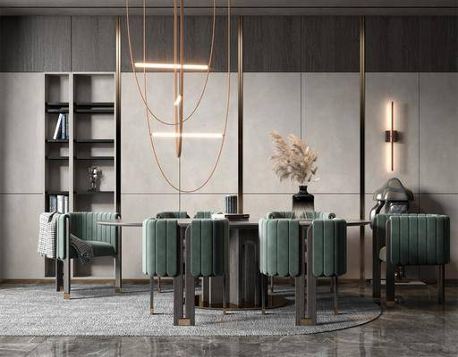 餐桌, 桌椅组合, 吊灯, 壁灯, 花瓶, 植物