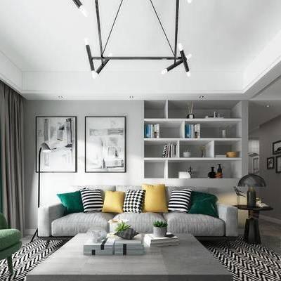 现代, 北欧, 客厅, 沙发, 茶几, 吊灯, 单椅, 挂画, 地毯, 现代客厅, 北欧客厅