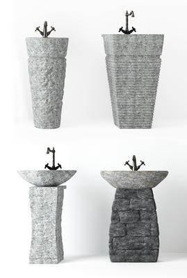 中式石头洗手盆, 洗脸盆, 中式