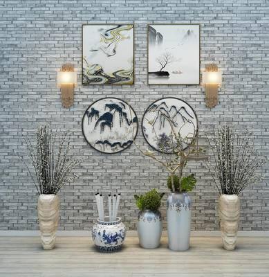 新中式, 盆栽, 装饰画, 吊灯