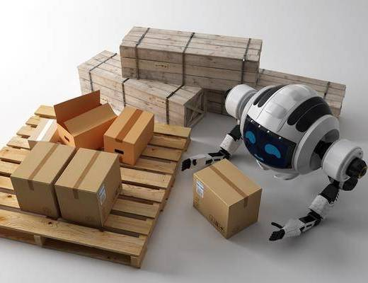 现代, 机器人, 包装盒, 组合