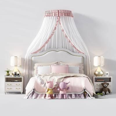 床具组合, 儿童床, 床头柜, 台灯, 布偶, 单人床, 欧式床具组合, 欧式
