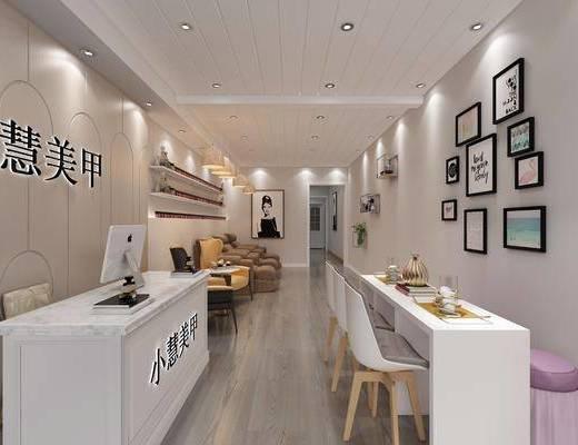 美甲店, 按摩椅, 前台, 桌子, 单人椅, 装饰画, 挂画, 照片墙, 凳子, 单人沙发, 边几, 吊灯, 装饰架, 摆件, 装饰品, 陈设品, 现代