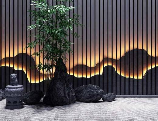 石头, 竹子, 中式