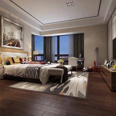 儿童房, 卧室, 床, 边柜, 床头柜, 台灯, 挂画, 电视柜, 现代, 现代卧室