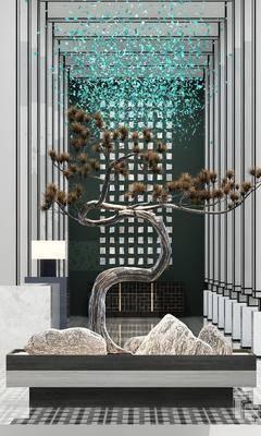 植物摆件, 摆件组合, 松树摆件, 新中式