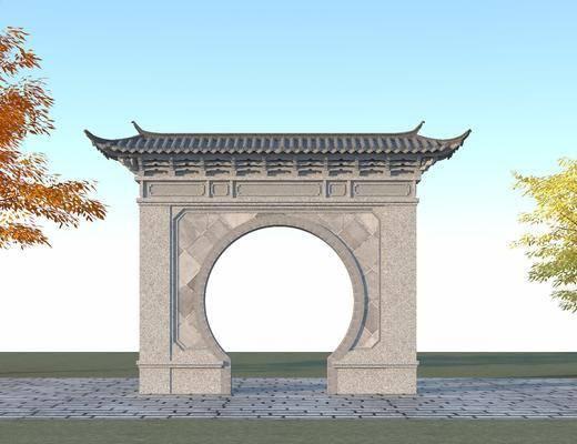 月亮门, 照壁, 拱门, 古建筑