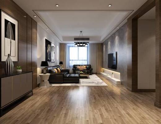 现代港式, 客餐厅全景, 皮质黑色沙发组合, 茶几, 现代吊灯, 边柜, 书房