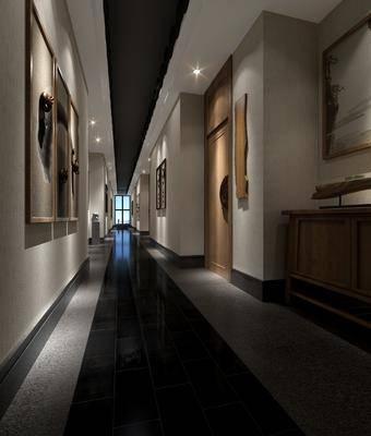 茶馆过道, 边柜, 装饰柜, 装饰画, 挂画, 墙饰, 新中式