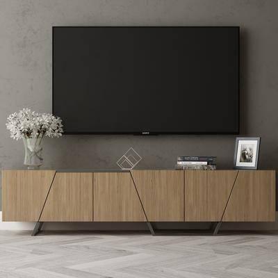 现代电视柜, 电视, 摆件