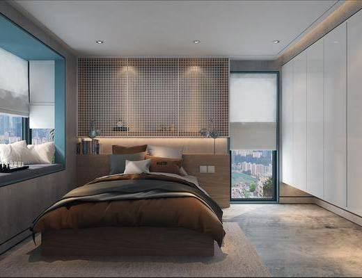 卧室, 床, 现代, 飘窗, 地毯