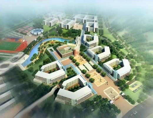 中心小学, 教学楼, 宿舍, 图书馆, 建筑外观