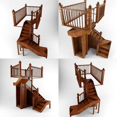 现代, 美式, 实木, 楼梯