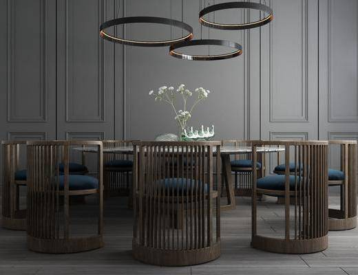 桌椅组合, 餐桌, 餐椅, 单人椅, 吊灯, 餐桌椅, 圆桌, 摆件, 装饰品, 陈设品, 新中式