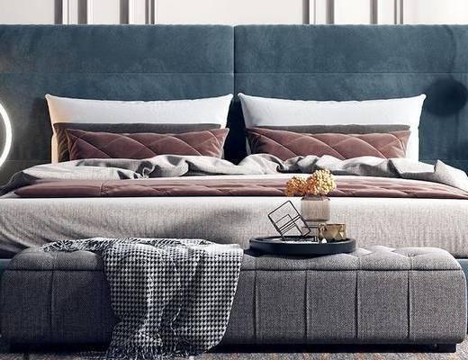 床具组合, 床头柜, 双人床, 床尾踏, 摆件组合