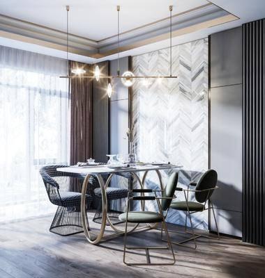 餐桌, 桌椅組合, 吊燈, 餐具組合, 背景墻