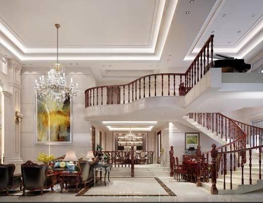 欧式中空别墅, 吊灯, 客餐厅