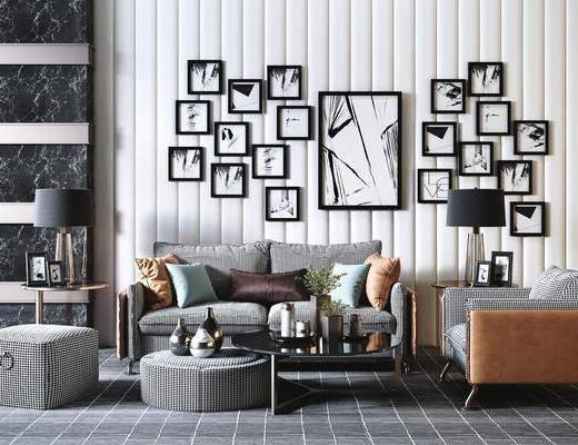 沙发组合, 沙发茶几组合, 照片墙, 摆件组合, 现代轻奢