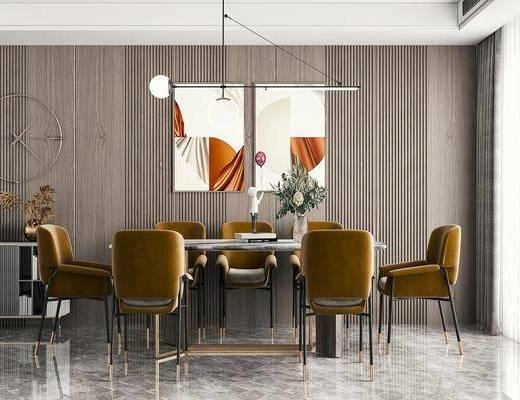 餐桌椅, 玄关柜, 吊灯, 挂画, 摆件