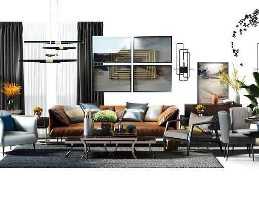 软装搭配, 沙发组, 沙发茶几组合, 窗帘, 装饰画, 挂画, 组合画, 餐边柜, 圆桌, 餐桌椅组合, 餐桌, 休闲椅, 现代