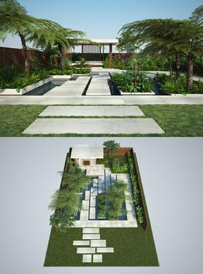 花园庭院, 绿植, 树木, 植物, 现代
