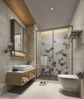 卫生间, 浴室, 马桶, 洗手台, 装饰镜, 花洒, 现代
