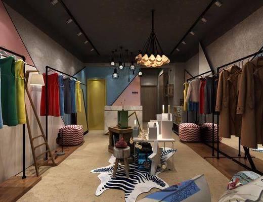 服装店, 衣服, 衣架, 摆件, 吊灯, 现代
