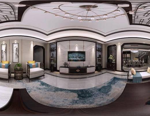 沙发组合, 茶几, 吊灯, 电视柜, 桌椅组合