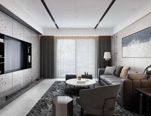 现代客厅, 沙发茶几, 现代沙发, 现代茶几, 电视, 挂画, 台灯, 边几, 桌子