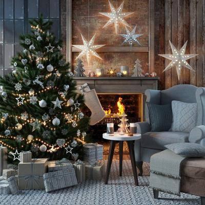 摆件组合, 沙发脚榻组合, 圣诞节, 圣诞树, 装饰品, 摆件, 装饰灯, 壁炉, 单人沙发, 圆几, 美式, 美式沙发脚榻组合