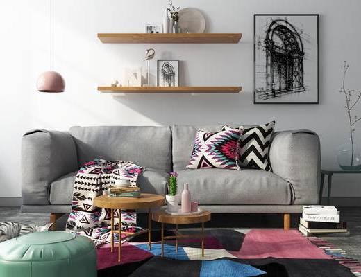 现代风格, 沙发茶几组合, 北欧沙发, 现代沙发, 沙发组合, 装饰画, 北欧
