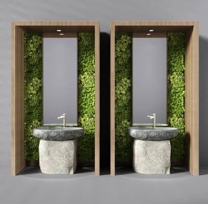 洗手盆, 洗手台, 植物墙, 原石台