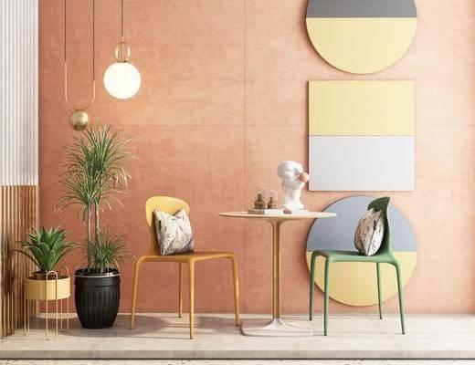 北欧桌椅, 桌椅组合, 现代吊灯, 现代盆栽, 现代雕塑