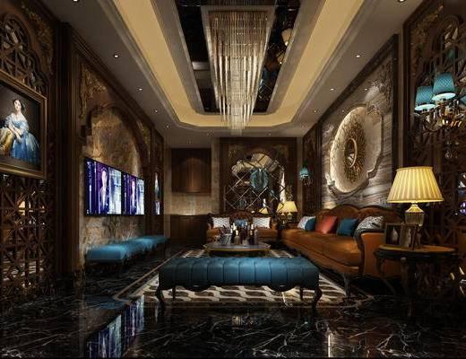 美式, 古典, 沙发, 灯具, 装饰画
