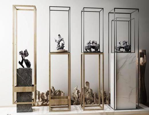 石雕, 石像, 端景台, 陈设品, 摆件, 新中式, 中式