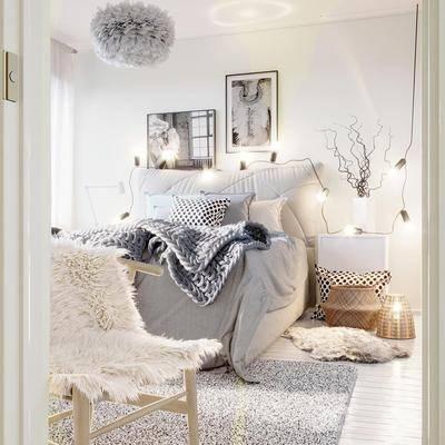 卧室, 北欧卧室, 床具组合, 摆件, 挂画, 北欧
