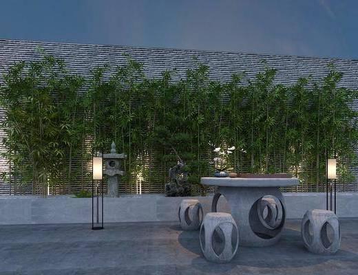 花园, 庭院, 园艺, 小品, 石桌, 石凳, 落地灯