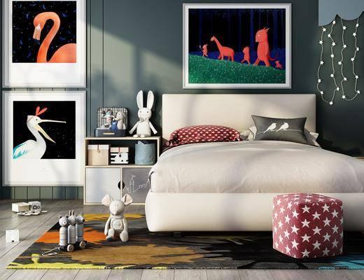 單人床, 床具組合, 裝飾畫