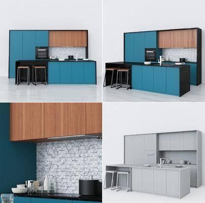 厨房, 橱柜, 餐具, 餐桌, 餐椅, 现代