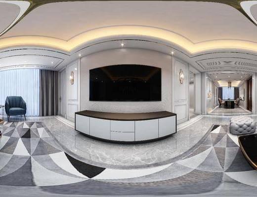 沙发组合, 茶几, 桌椅组合, 吊灯, 电视柜, 单椅, 墙饰