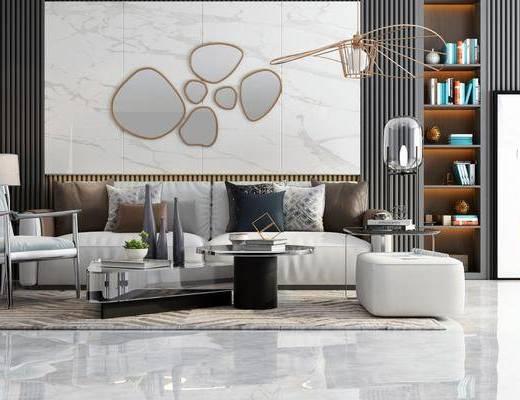 现代, 沙发组合, 落地灯, 吊灯, 茶几