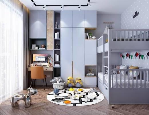 儿童房, 男孩房, 上下床, 高低床, 书柜, 衣柜, 书桌, 单人椅, 装饰画, 台灯, 摆件, 装饰品, 陈设品, 写字台, 北欧