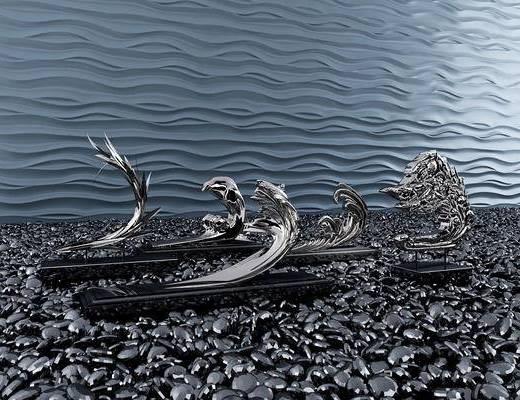 海浪, 鹅卵石, 雕塑, 雕刻, 摆件