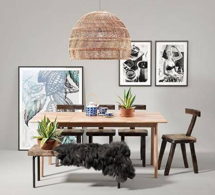 北欧, 餐桌椅, 组合