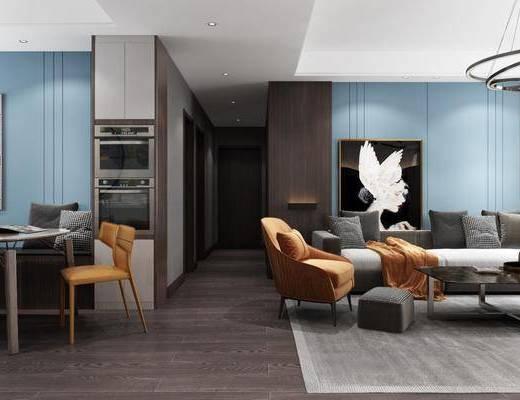 客厅, 餐厅, 多人沙发, 茶几i单人沙发, 装饰画, 餐桌, 餐椅, 单人椅, 吊灯, 落地灯, 北欧