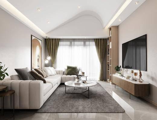 沙发组合, 茶几, 摆件组合, 电视柜, 装饰画