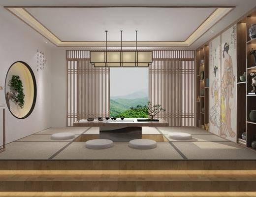茶室, 新中式茶室, 茶具, 植物盆栽, 摆件组合