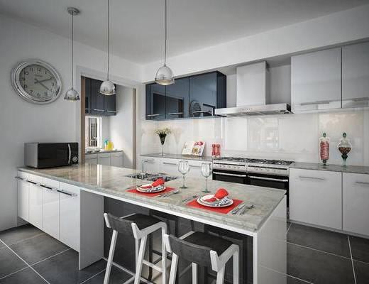 现代厨房, 厨具, 橱柜, 吊灯, 吧椅, 抽油烟机