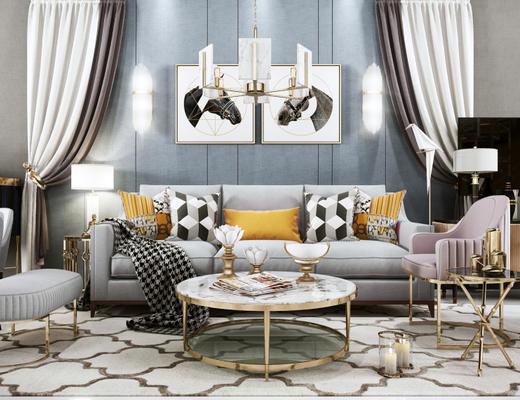 后现代, 沙发茶几组合, 吊灯, 台灯, 陈设品组合