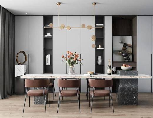 餐厅, 桌椅组合, 吊灯, 花瓶, 装饰画